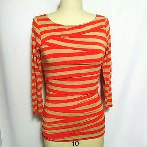 Vince Camuto Orange Tiered Stripe Jersey Top